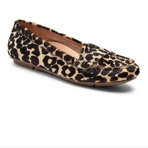 Vionic Tan Leopard Chill Larrun Calf Hair Loafer